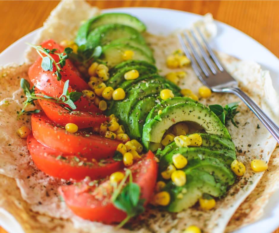 tomato avo corn tortilla eat in moderation