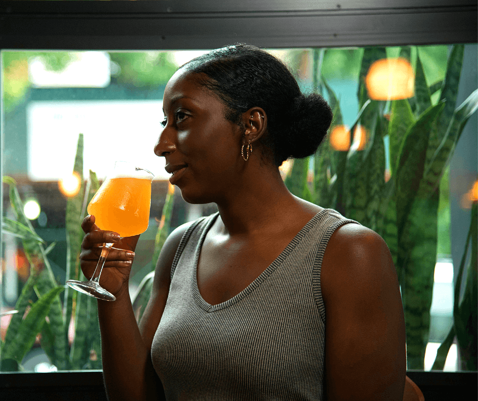 woman with breast cancer drinking alcohol